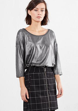 Shirt met stretch en metallic-look