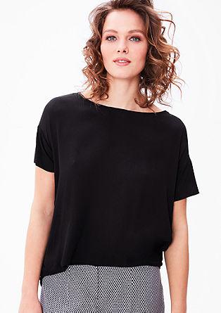 Shirt met voorpand van crêpe