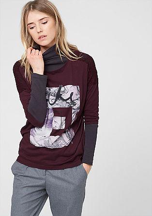 Shirt mit Frontprint und Spitze