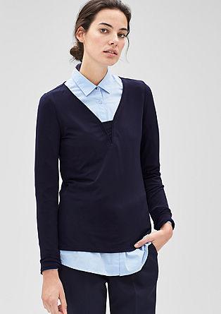 Shirt mit Paspel-Ausschnitt