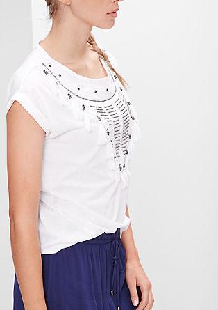 Shirt mit Perlen und Fransen