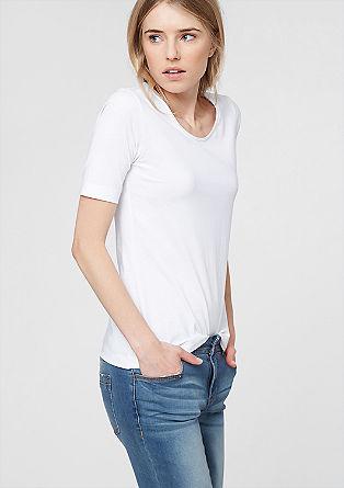 Shirt mit Rollsaum-Ausschnitt
