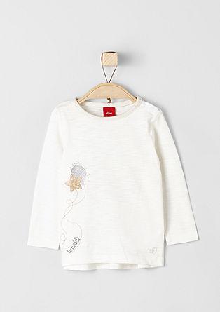 Shirt mit Rüschen und Glitzerprint