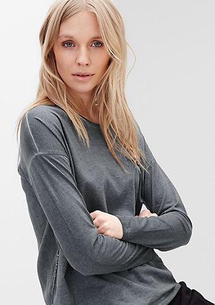 Shirt van materiaalmix met kettingdetail
