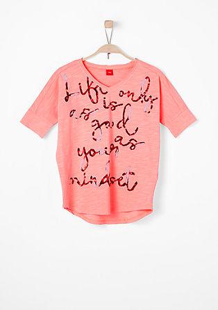 Shirt van slubgaren, met print op de voorkant