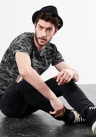 Shirt van slubgaren met clamouflageprint
