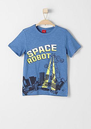 Shirt van slubgaren met een print op de voorkant