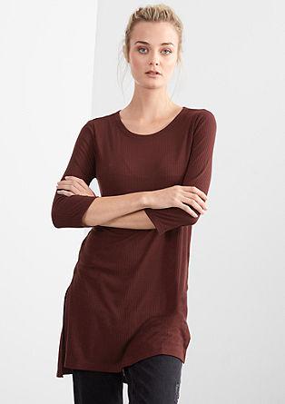 Shirtkleid aus feiner Rippware