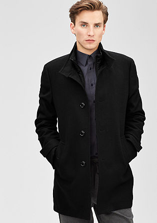 Short, textured wool coat from s.Oliver
