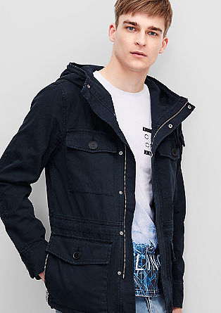 Short canvas parka with details from s.Oliver