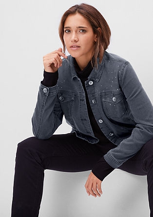 Short denim jacket with studs from s.Oliver