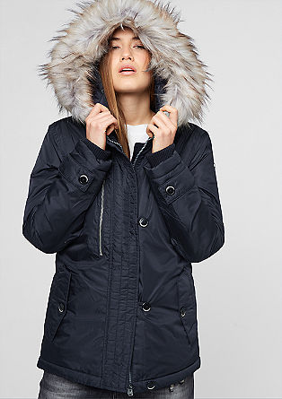 Short parka with a fake fur trim from s.Oliver