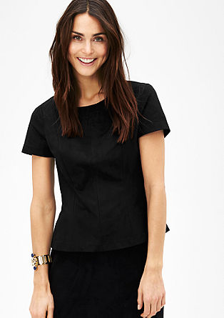 Short sleeve blouse in imitation suede from s.Oliver
