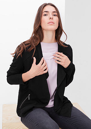 Short sweatshirt jacket with a collar from s.Oliver