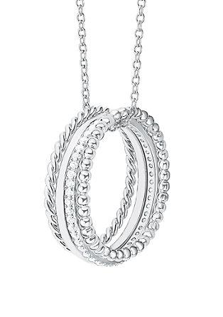 Silberhalskette mit Zirkonia-Ringen