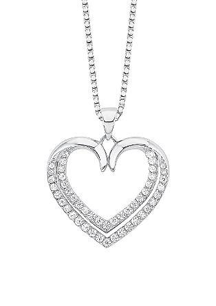 Silberkette mit Zirkonia-Herz