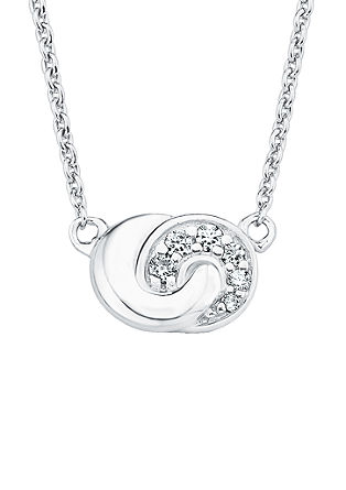 Silberne Halskette 'Knoten' mit Zirkonia