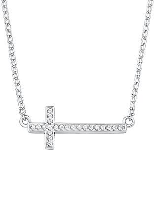 Silberne Halskette 'Kreuz' mit Zirkonia