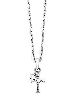 Silberne Halskette mit funkelndem Kreuz