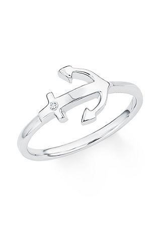 Silberner Ring 'Anker' mit Zirkonia