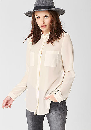 Silk blouse with chest pockets from s.Oliver
