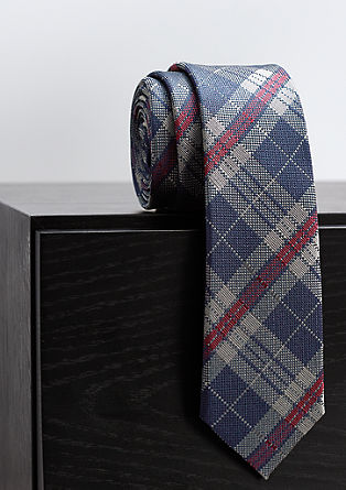 Silk tie with a check pattern from s.Oliver