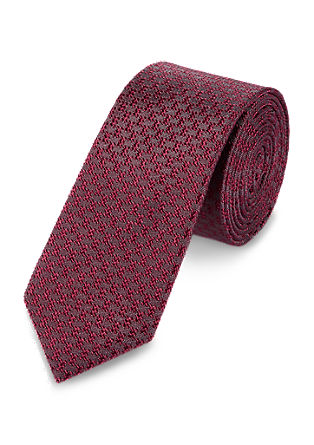 Silk tie with a jacquard design from s.Oliver