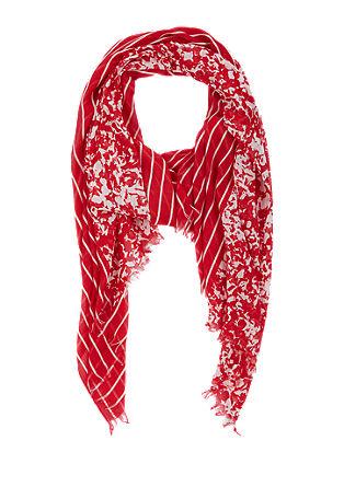 Sjaal met bloemen en strepen