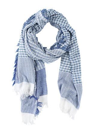 Sjaal met franje en met een jacquardpatroon