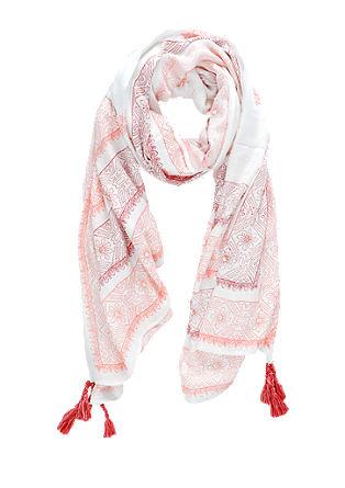 Sjaal met motief en kwastjes