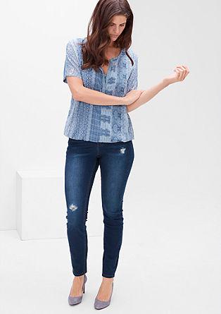 Skinny: Used-Jeans mit Destroyes