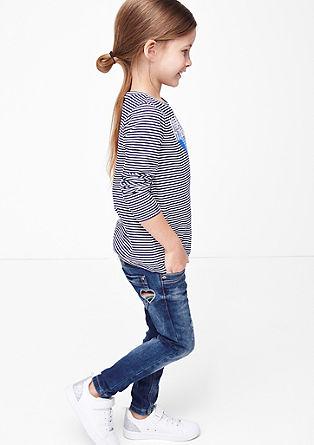 Skinny Kathy: jeans hlače z zaplato v obliki srčka