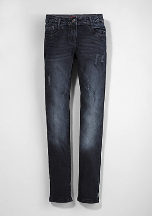 Skinny Suri: Dunkle Destroyed-Jeans