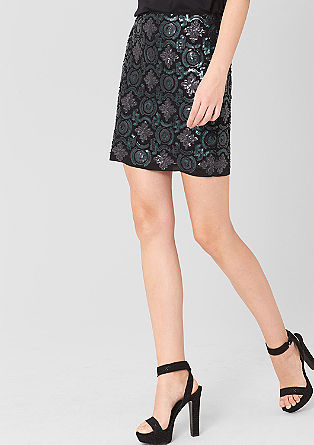 Skirt with a sequin pattern from s.Oliver