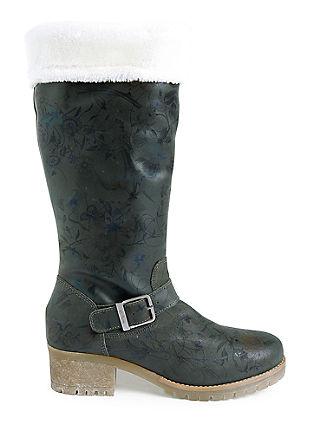 Škornji iz velurnega usnja z zavihom