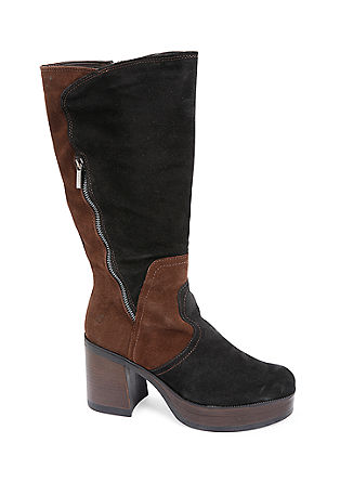 Škornji s plato podplatom iz velurnega usnja