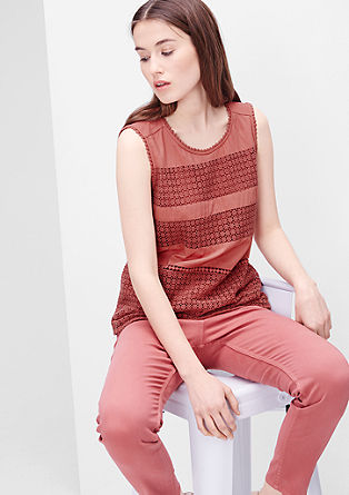 Sleeveless blouse with a crocheted front from s.Oliver