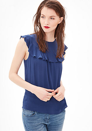 Sleeveless blouse with a flounce detail from s.Oliver