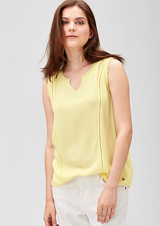 Sleeveless blouse with crochet lace from s.Oliver