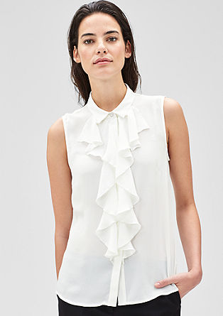 Sleeveless blouse with flounces from s.Oliver