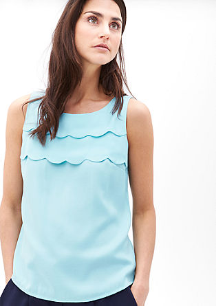 Sleeveless blouse with scalloped flounces from s.Oliver