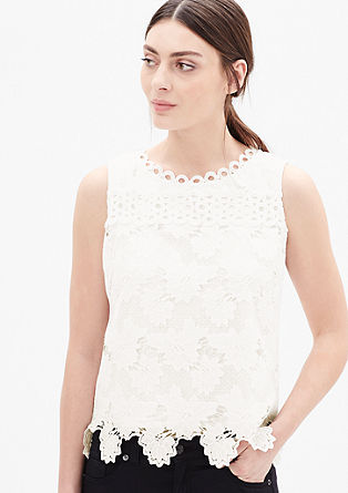 Sleeveless top in floral lace from s.Oliver