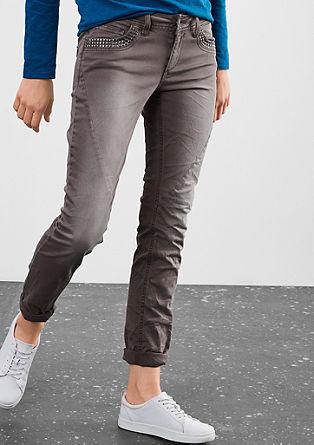 Slim: Barvne jeans hlače s kovicami