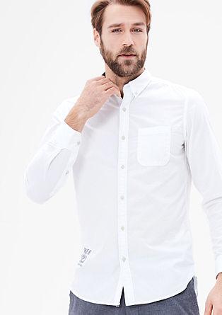 Slim: Besticktes Fil-a-fil-Hemd