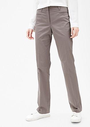 Slim: broek van katoenen satijn