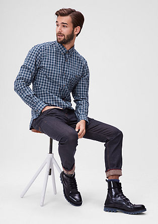 Slim: button-down check shirt from s.Oliver