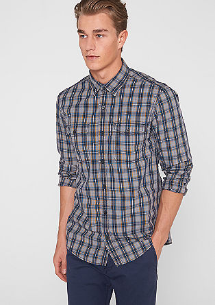 Slim: check poplin shirt from s.Oliver