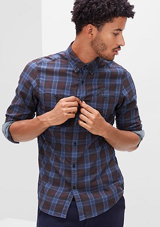 Slim: check shirt with an embroidered logo from s.Oliver