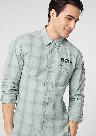 Slim: Check shirt with artwork from s.Oliver