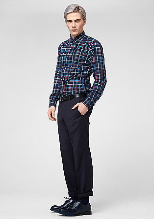 Slim: check shirt with chest pockets from s.Oliver